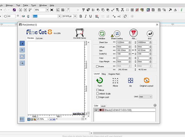 Phần mềm fineCut được tích hợp với Corel dưới dạng Macro của máy Mimaki